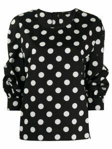 Steffen Schraut draped polka dot blouse - Black