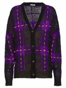 Miu Miu tartan knit cardigan - PURPLE