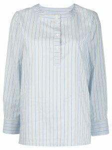 A.P.C. pinstriped collarless blouse - Blue
