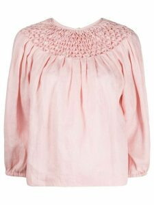Innika Choo smock neck linen blouse - PINK