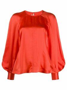 McQ Alexander McQueen bell sleeve silk blouse - Red