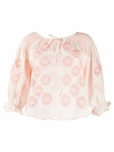 Innika Choo floral embroidered smock blouse - PINK