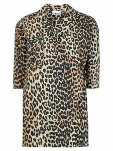 GANNI leopard print wrap shirt - NEUTRALS