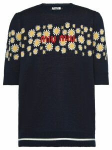 Miu Miu jacquard knit jumper - Blue