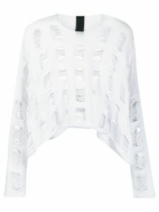 Rundholz distressed knit round neck jumper - White