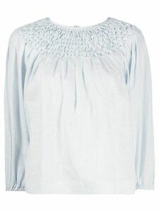 Innika Choo smock neck linen blouse - Blue