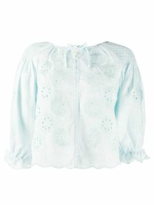Innika Choo floral embroidered smock blouse - Blue