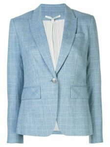 Veronica Beard check patterned fitted blazer jacket - Blue