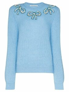 Alessandra Rich embellished bow motif jumper - Blue