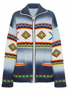 Miu Miu geometric pattern zipped cardigan - Blue