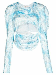 yuhan wang Kitty long-sleeve crop top - Blue