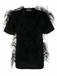 Valentino feather embellished short-sleeved T-shirt - Black