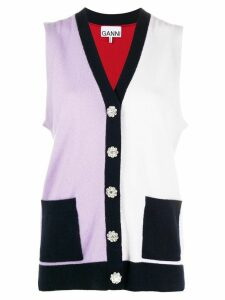 GANNI sleeveless two-tone cardigan - Red