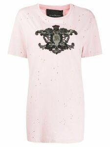 John Richmond crest embroidered T-shirt - PINK