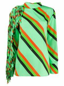 MSGM diagonal stripe fringed top - Green