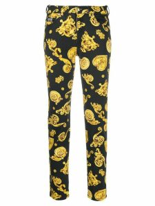 Versace Jeans Couture baroque-print slim-fit jeans - Black