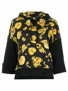 Versace Jeans Couture baroque-print contrast hoodie - Black