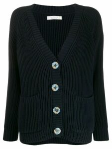 Chinti and Parker ribbed button-up cardigan - Blue