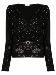 Saint Laurent V-neck sequinned blouse - Black