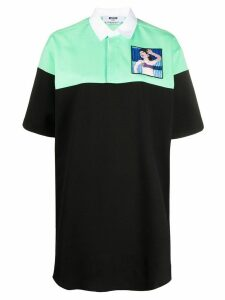 MSGM bi-colour embroidered-patch polo shirt - Black