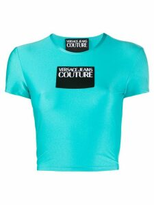 Versace Jeans Couture logo patch cropped T-shirt - Blue