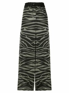 Sacai satin zebra-print palazzo trousers - Black