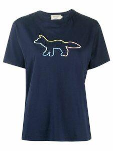 Maison Kitsuné logo print round neck T-shirt - Blue