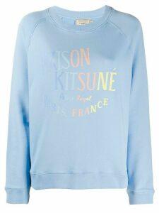 Maison Kitsuné logo print round neck sweatshirt - Blue
