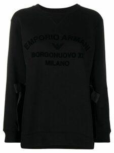Emporio Armani logo print side tie sweatshirt - Black