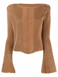 Balmain herringbone panel knitted jumper - Brown