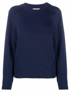 Maison Kitsuné Parisienne logo round neck sweatshirt - Blue