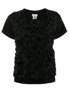 Comme Des Garçons Noir Kei Ninomiya floral appliqué T-shirt - Black
