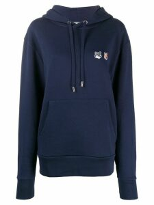 Maison Kitsuné Fox logo patch drawstring hoodie - Blue