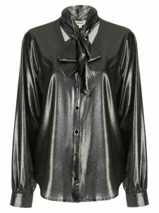 L'Agence Gisele neck-tie silk blouse - SILVER