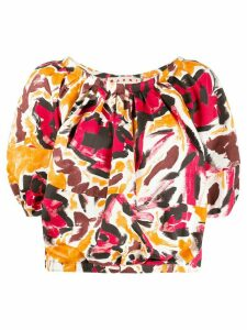 Marni brushstroke floral print top - ORANGE