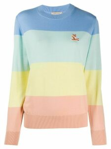 Maison Kitsuné Fox embroidered colour block jumper - Blue