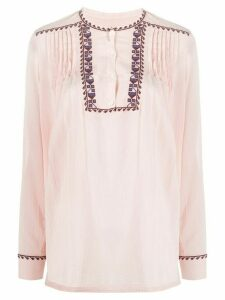 Closed embroidered pleat blouse - PINK