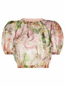 Dolce & Gabbana floral-print crop top - PINK