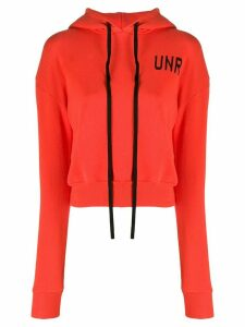 UNRAVEL PROJECT logo-print cropped hoodie - ORANGE