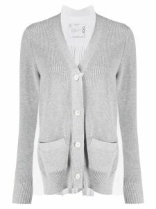 Sacai pleat detail cardigan - Grey