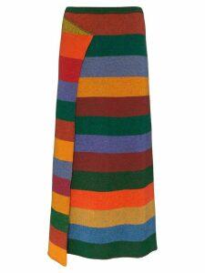 The Elder Statesman striped cashmere midi skirt - Red
