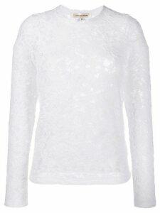 Comme Des Garçons floral lace crew neck top - White