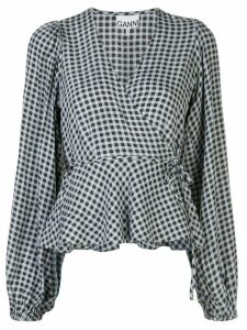 GANNI gingham print wrap blouse - Blue