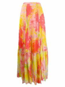 Pinko abstract pleated long skirt - ORANGE