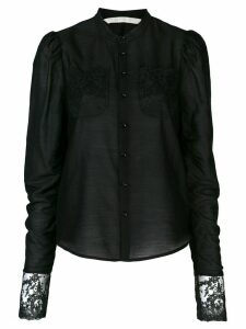 Renli Su embroidered collarless blouse - Black