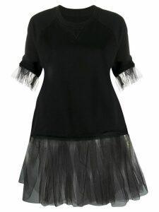 Mm6 Maison Margiela tulle panel T-shirt - Black