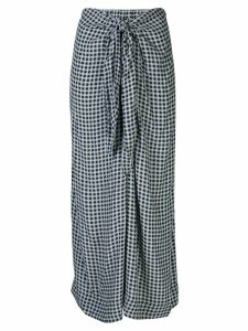 GANNI gingham print midi skirt - Blue