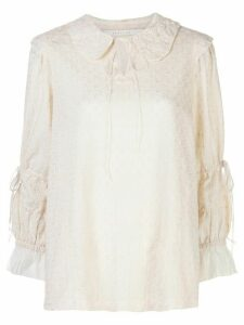 Renli Su embroidered tied-neck blouse - White