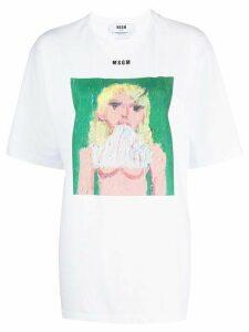 MSGM painting-print boxy T-shirt - White