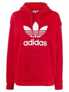 adidas Trefoil logo-print hoodie - Red